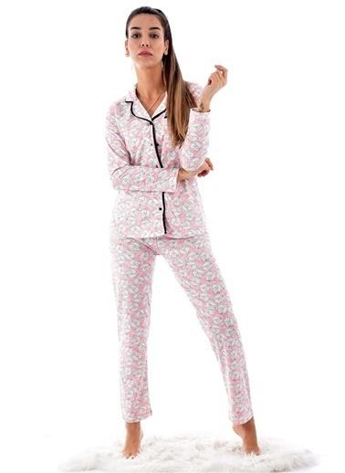 Pemilo Kadın 2471 Önden Düğmeli Uzzun Kol Pijama Takımı PEMBE Pembe